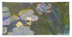 Waterlilies And Agapanthus Hand Towel