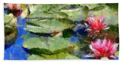Hand Towel featuring the painting Waterlilies From Giverny by Dragica  Micki Fortuna