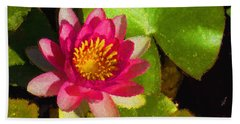 Waterlily Impression In Fuchsia And Pink Bath Towel