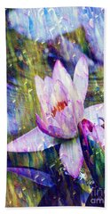 Purple Waterlily Paradise Bath Towel by Carol F Austin