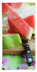 Watermelon, Cut Into Pieces, On A Wooden Board Bath Towel