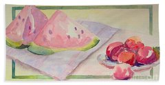 Hand Towel featuring the painting Watermelon by Marilyn Zalatan