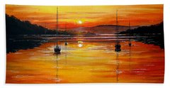 Watery Sunset At Bala Lake Bath Towel