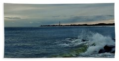 Hand Towel featuring the photograph Wave Crashing At Cape May Cove by Ed Sweeney
