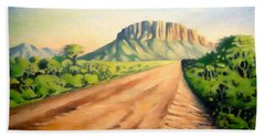 Bath Towel featuring the painting Way To Maralal by Anthony Mwangi