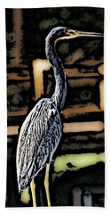 Hand Towel featuring the digital art Wc Great Blue by David Lane