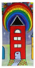 We Choose To Serve - Original Whimsical Folk Art Painting Hand Towel