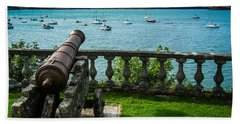Hand Towel featuring the photograph Weathered Cannon Guards Ireland's Historic Bantry Bay by James Truett