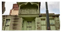Bath Towel featuring the photograph Weathered Old Green Wooden House by Imran Ahmed
