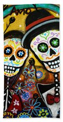 Hand Towel featuring the painting Wedding Dia De Los Muertos by Pristine Cartera Turkus