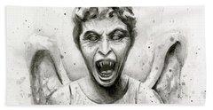 Weeping Angel Watercolor - Don't Blink Bath Towel