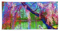 Weeping Beauty, Cherry Blossom Tree And Heron Bath Towel