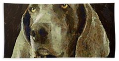Bath Towel featuring the painting Weimaraner Dog by Dragica  Micki Fortuna