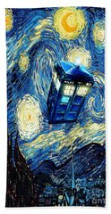 Weird Flying Phone Booth Starry The Night Hand Towel