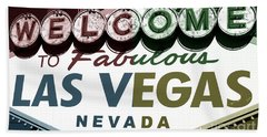Welcome To Las Vegas Fusion Hand Towel by John Rizzuto