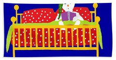 Hand Towel featuring the digital art Welsh Snowman Bedtime  by Barbara Moignard