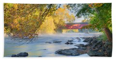 Hand Towel featuring the photograph West Cornwall Covered Bridge Autumn by Bill Wakeley