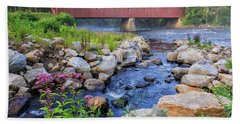 Hand Towel featuring the photograph West Cornwall Covered Bridge Summer by Bill Wakeley