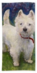West Highland Terrier Holly Hand Towel by Richard James Digance
