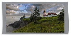 West Quoddy Head Lighthouse Panorama Bath Towel