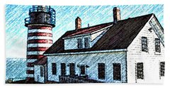 West Quoddy Lighthouse Lubec Maine Hand Towel