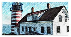 West Quoddy Lighthouse Lubec Maine Bath Towel