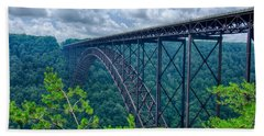 Bath Towel featuring the photograph West Virginia New River Gorge Bridge Carrying Us 19 Over The G by Alex Grichenko
