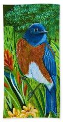 Western Bluebird Hand Towel