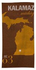 Western Michigan University Broncos Kalamazoo Mi College Town State Map Poster Series No 126 Bath Towel