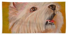 Westie Portrait Bath Towel by Tracey Harrington-Simpson