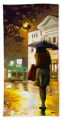 Bath Towel featuring the painting Wet Night by Anthony Mwangi