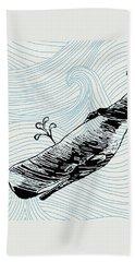 Whale On Wave Paper Bath Towel