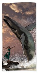 Whale Watcher Hand Towel by Daniel Eskridge