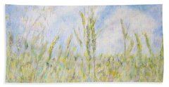 Wheat Field And Wildflowers Bath Towel