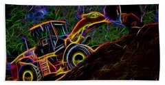 Wheel Loader Moving Dirt - Neon Hand Towel