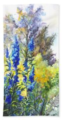 Bath Towel featuring the painting Where The Delphinium Blooms by Carol Wisniewski
