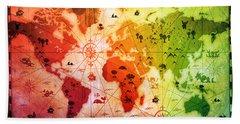 Whimsical World Map 4 Hand Towel