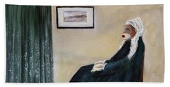 Hand Towel featuring the painting Whistlin Mother by Randol Burns