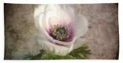 Hand Towel featuring the photograph White Anemone by Barbara Orenya