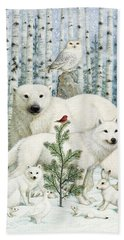 White Animals Red Bird Bath Towel