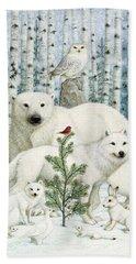 White Animals Red Bird Hand Towel
