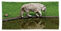 White Tiger Reflections Hawaii Hand Towel by Venetia Featherstone-Witty