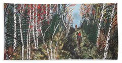 Hand Towel featuring the painting White Birch Trail Ride by Jeffrey Koss