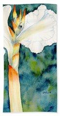 White Canna Flower Bath Towel by Carlin Blahnik