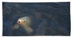 White Carp In The Lake Hand Towel by Chris Flees