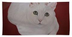 White Cat Bath Towel