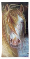 Hand Towel featuring the painting White Chocolate Stallion by Karen Kennedy Chatham
