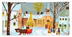 Bath Towel featuring the painting White Christmas by Magdalena Frohnsdorff