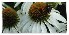 White Coneflowers  Hand Towel