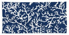 White Coral On Blue Pattern Hand Towel